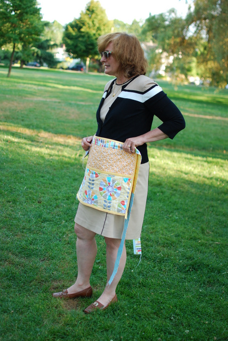 Karen with her craft apron
