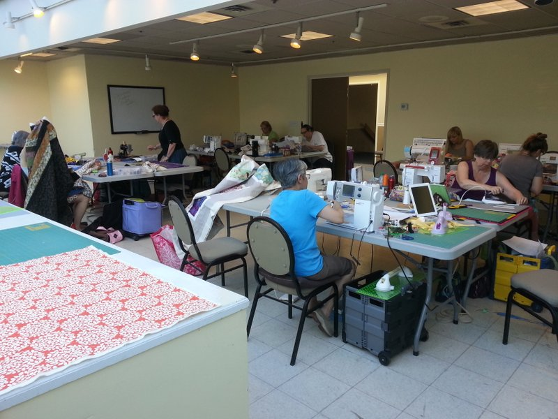 Quilters hard at work at our June 2014 sew-in