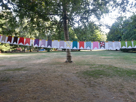 Fairground blocks hanging at our outdoor meeting