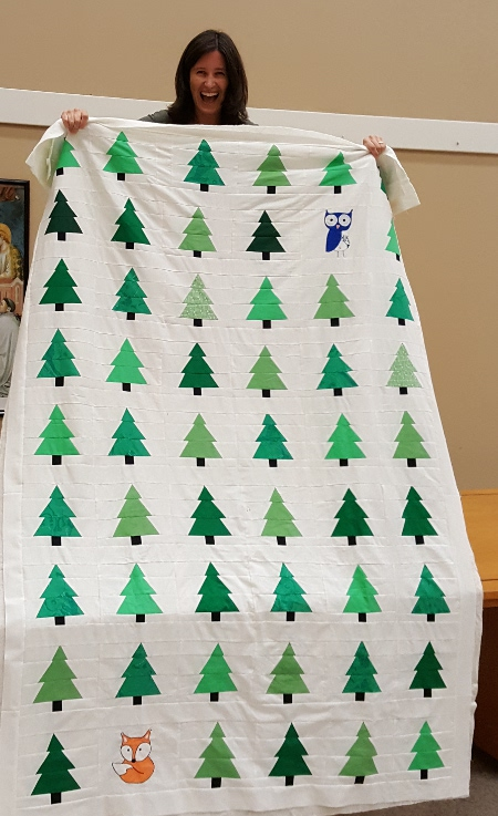 Susan made this fantastic tree quilt. Can you spot the fox and owl?